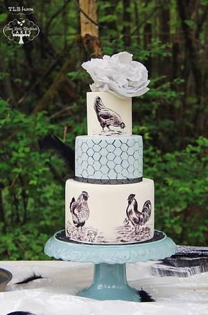 Vintage Chickens - Cake by Three Little Blackbirds