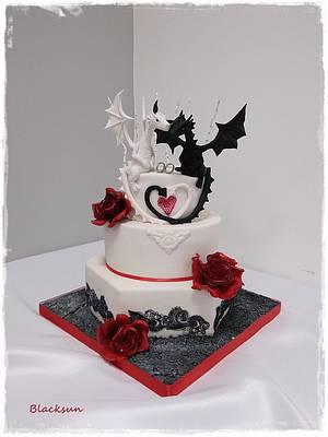 Dragons wedding - Cake by Zuzana Kmecova