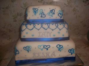 Blue Hearts Wedding - Cake by caymancake