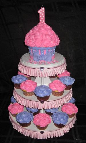 First Birthday Cupcake Tower - Cake by Cuteology Cakes