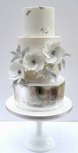 Silver and White Wedding - Cake by The Rosehip Bakery