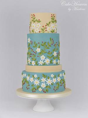 Brush embroidered cake - Couture Cakers Collaboration - Cake by CakeHeaven by Marlene