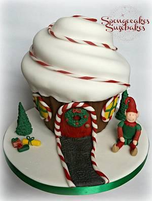 Elf House at Candy Cane Lane Giant Cupcake - Cake by Spongecakes Suzebakes