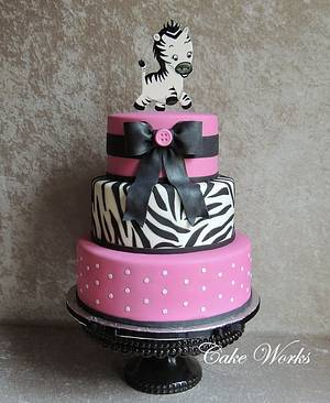 Pink and Black Zebra Baby Shower - Cake by Alisa Seidling