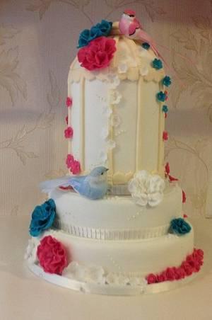 Birdcage wedding cake - Cake by thetreatemporium