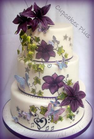 Lily and butterfly wedding cake - Cake by Janice Baybutt