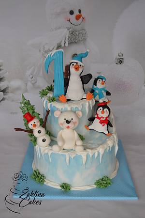 Penguins and Friends on the Snow - Cake by Zaklina