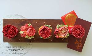 Floral chinese new year cupcakes - Cake by Karen Leong