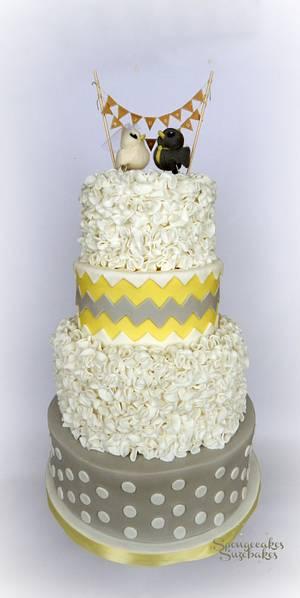 Yellow Chevron Wedding Cake - Cake by Spongecakes Suzebakes