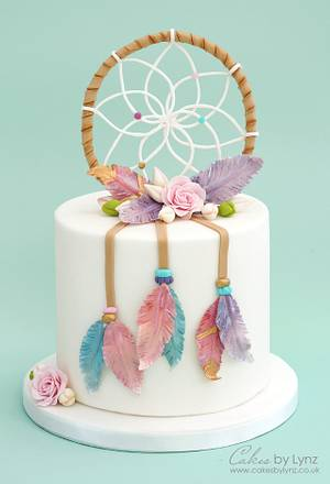 Dream Catcher Cake with gumpaste feathers - Cake by CakesbyLynz