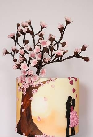 Blossom Love silhouette cake - Cake by Sarahscakes