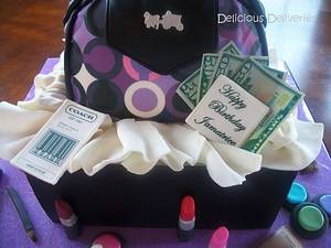 Coach Purse and Makeup Giftbox Cake - Cake by DeliciousDeliveries