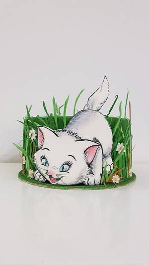 Kitty in the grass - Cake by iratorte