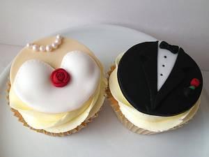 Bride & Groom Cupcakes - Cake by Dollybird Bakes