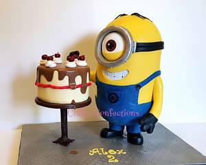 Cherry stealing Minion! - Cake by Craftyconfections