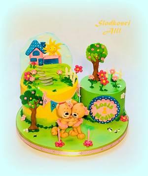Teddy Bears 1st Birthday Cake - Cake by Alll