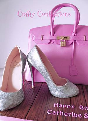Birkin bag cake and silver Louboutins - Cake by Craftyconfections