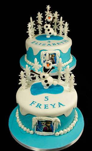 A pair of Frozen cakes - Cake by Sweet Harmony Cakes
