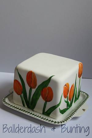 Painted tulips - Cake by Ballderdash & Bunting