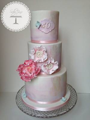 Watercolour 40th Birthday Cake - Cake by Sally Jane Cake Design