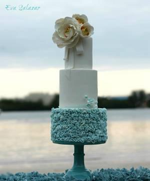 Dusty Blue Ruffle Cake - Cake by Eva Salazar