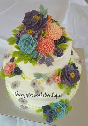 Floral fresh cream Wedding cake  - Cake by Payal Jain