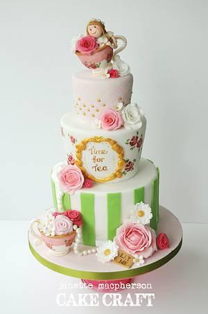 Tea Party Birthday Cake - Cake by Janette MacPherson Cake Craft