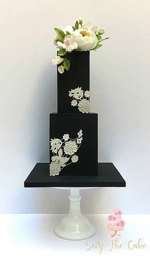 Black Elegance Cake - Cake by Seize The Cake