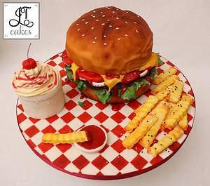 Burger Cake - Cake by JT Cakes