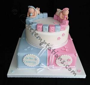 Boy & Girl christening cake - Cake by Cake Temptations (Julie Talbott)