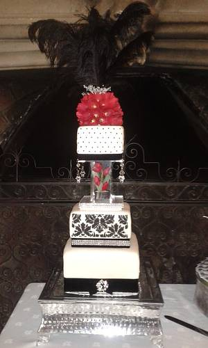 Magnificently Monochrome (with Red Tulips). - Cake by Karen's Kakery