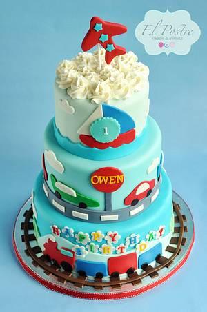 Transportation theme 1st birthday cake - Cake by Claudia Gonzalez