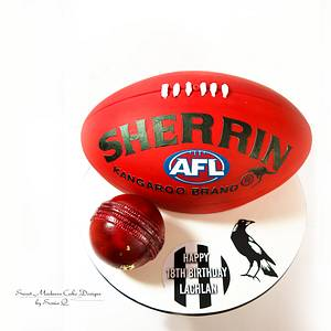 Australian AFL Football and Cricket ball - Cake by Sweet Madness Cake Designs