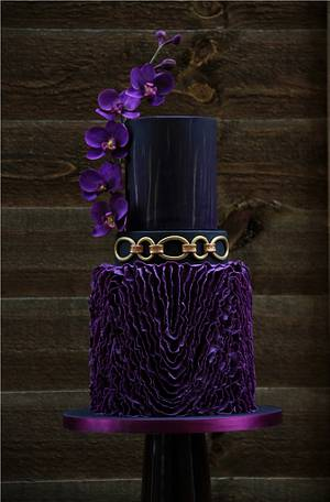 purple, black and gold wedding cake - Cake by beth