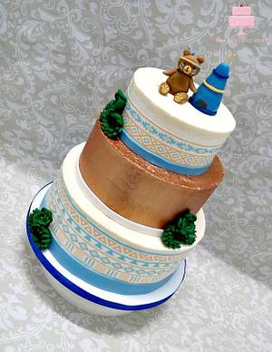 Baby Indian Cake with Aztec Print - Cake by YB Cakes and More