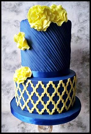 Blue and Yellow wedding cake  - Cake by Time for Tiffin
