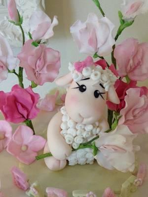 Little sheep and sweet peas - Cake by Elli Warren