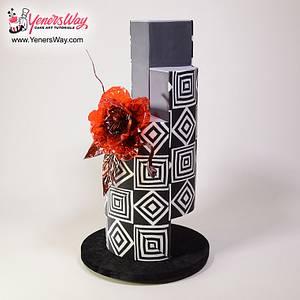 Modern Wedding Cake with Isomalt Flower - Cake by Serdar Yener | Yeners Way - Cake Art Tutorials