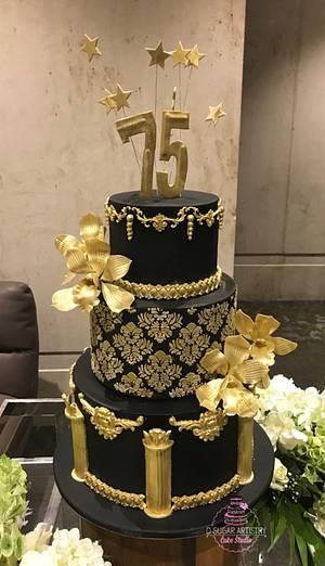 Black and Gold Elegant Cake - Cake by D Sugar Artistry - cake art with Shabana