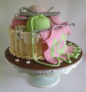 100th Birthday Knitting Basket Cake - Cake by CakeyCake