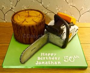 Chainsaw and log cake - Cake by Daisychain's Cakes
