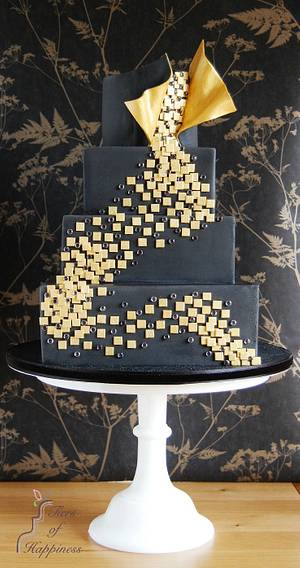 Black and Gold 'Dance' Contemporary Cake - Cake by Tiers Of Happiness