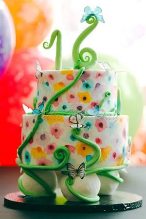 Watercolour garden - Cake by JoBP