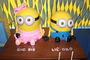 Big Sis and Lil' Bro Minions - Cake by AngelsBakeShop