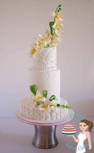 Orchids White Wedding - Cake by Veenas Art of Cakes