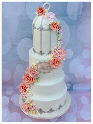 Floral Wedding Birdcage Cake - Cake by Cakexstacy