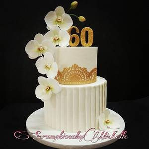 Cascading wafer paper Moth Orchid on white and gold themed cake - Cake by Michelle Chan