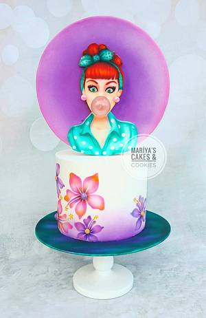 Bublle gum girl - Cake by Mariya's Cakes & Art