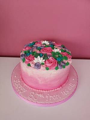 Bright piped flowers cake - Cake by Truly Scrumptious Cakes by Christine