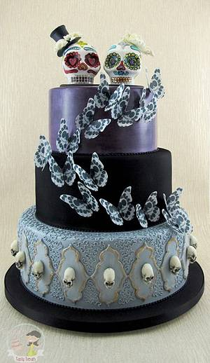 Gothic Wedding Cake with Mexican Skull Topper - Cake by Natasha Shomali